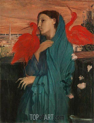 Young Woman with Ibis, c.1860/62 | Degas | Painting Reproduction