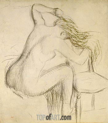 A Seated Nude Woman Styling her Hair, undated | Degas | Painting Reproduction
