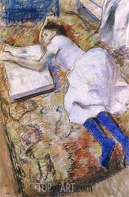 Young Girl Stretched Out Looking at an Album, undated | Degas| Painting Reproduction