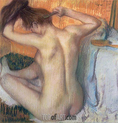 Woman Combing Her Hair, c.1886 | Degas | Painting Reproduction