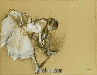 Dancer Adjusting her Shoe, c.1890 | Degas| Painting Reproduction