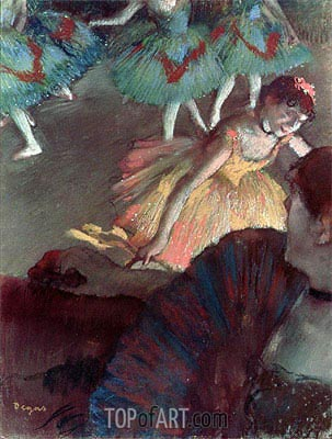 Ballerina and Lady with a Fan, 1885 | Degas | Painting Reproduction