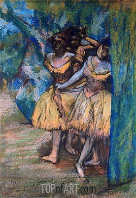 Three Dancers with a Backdrop of Trees and Rocks, c.1904/06 | Degas | Painting Reproduction