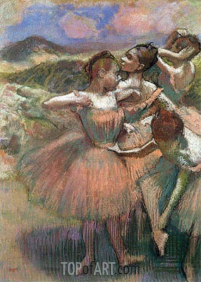 Four Dancers on Stage, undated | Degas| Painting Reproduction