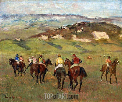 Jockeys on Horseback before Distant Hills, 1884 | Degas | Painting Reproduction