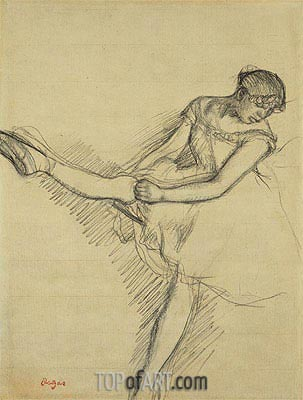 Dancer Seated, Readjusting her Stocking, c.1880 | Degas | Gemälde Reproduktion
