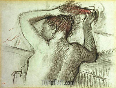 Nude Combing her Hair, undated | Degas| Painting Reproduction