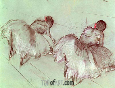 Two Ballet Dancers Resting, undated | Degas| Painting Reproduction
