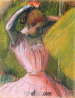 Dancer Arranging Her Hair, c.1900/12 | Degas| Painting Reproduction