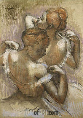 Two Dancers Adjusting their Shoulder Straps, c.1897   Degas   Painting Reproduction