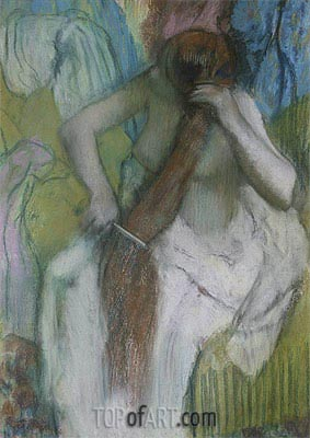Woman Combing her Hair, c.1887/90 | Degas| Painting Reproduction