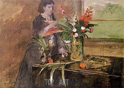 Young Woman Arranging Flowers, 1872 | Degas | Painting Reproduction