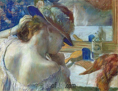 In Front of the Mirror, 1889 | Degas| Painting Reproduction