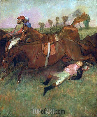 Scene from the Steeplechase: The Fallen Jockey, 1866 | Degas| Painting Reproduction
