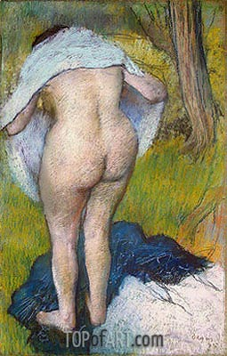Girl Drying Herself, 1885 | Degas | Painting Reproduction