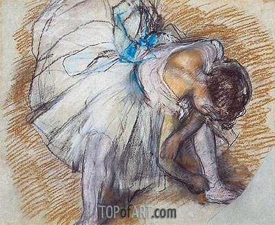 Dancer Adjusting her Shoe, 1885 | Degas | Painting Reproduction