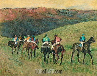 Racehorses in a Landscape, 1894 | Degas | Painting Reproduction