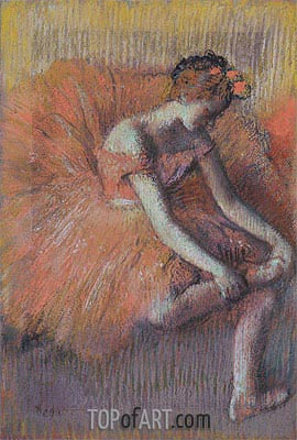 Dancer Adjusting her Shoe, c.1896 | Degas | Painting Reproduction