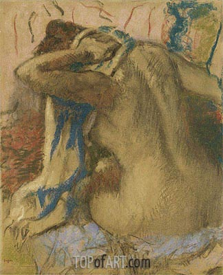 Woman Drying Her Hair, 1885 | Degas | Painting Reproduction