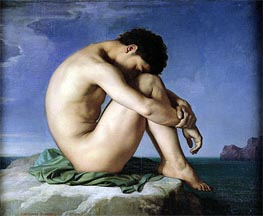 Nude Youth Sitting by the Sea, 1836 von Hippolyte Flandrin | Gemälde-Reproduktion
