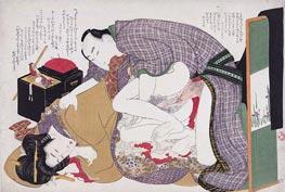 Love Couple at Sewing Box | Hokusai | Painting Reproduction