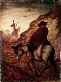 Sancho and Don Quixote, undated von Honore Daumier | Gemälde-Reproduktion