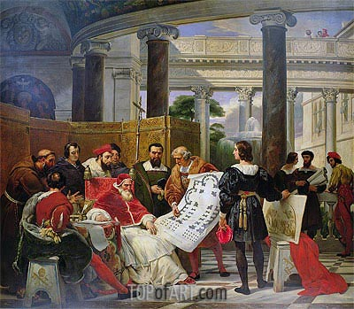 Pope Julius II ordering Bramante, Michelangelo and Raphael to construct the Vatican and St. Peter's, 1827 | Horace Vernet | Painting Reproduction