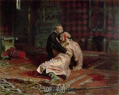 Ivan the Terrible and his Son on the 16th November, 1581, 1885 | Repin | Painting Reproduction