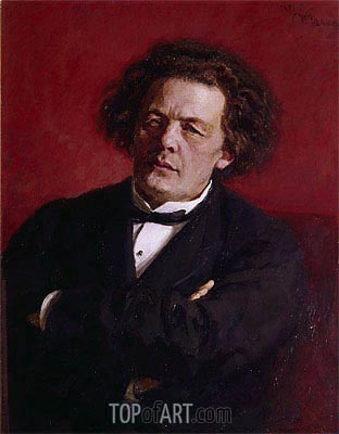 Portrait of Anton Grigoryevich Rubinstein, 1881 | Repin | Painting Reproduction