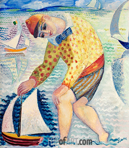 Boy with Sailing Boat, 1918 | Isaac Grünewald | Painting Reproduction