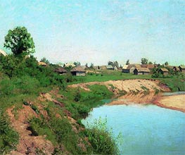 Village on Coast of the River, 1883 by Isaac Levitan | Painting Reproduction