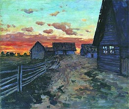 Log Huts. After a Sunset, 1899 by Isaac Levitan | Painting Reproduction