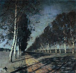 Moonlight Night. Road, c.1897/98 by Isaac Levitan | Painting Reproduction