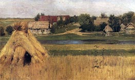 Stacks and Village behind the River, c.1880/83 by Isaac Levitan | Painting Reproduction