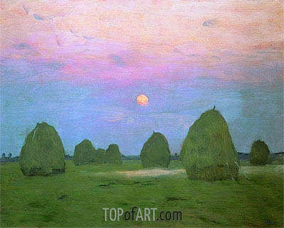 Twilight. Haystacks, 1899 | Isaac Levitan| Gemälde Reproduktion