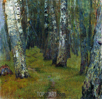 Birches. Grove Outskirts,  | Isaac Levitan| Gemälde Reproduktion
