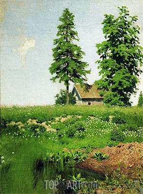 Cottage on a Meadow, c.1880/90 | Isaac Levitan | Gemälde Reproduktion