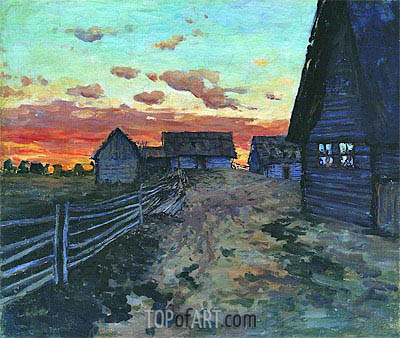 Log Huts. After a Sunset, 1899 | Isaac Levitan | Painting Reproduction