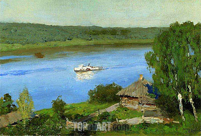 Landscape with Steamship, c.1888/90 | Isaac Levitan | Painting Reproduction
