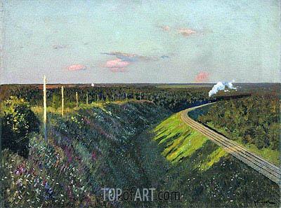 Train in Way, 1890 | Isaac Levitan | Gemälde Reproduktion