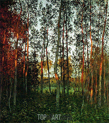 The Last Sunbeams. An Aspen Wood, 1897 | Isaac Levitan | Gemälde Reproduktion