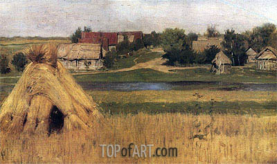 Stacks and Village behind the River, c.1880/83 | Isaac Levitan | Gemälde Reproduktion