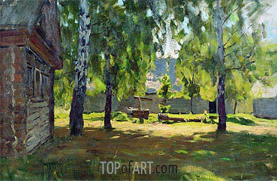 Isaac Levitan | Sunny Day. At a Log Hut, 1898