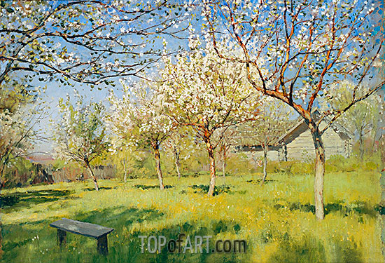 Blossoming Apple-Trees, 1896 | Isaac Levitan | Painting Reproduction
