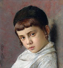 Portrait of a Young Boy with Peyot, Undated von Isidor Kaufmann | Gemälde-Reproduktion