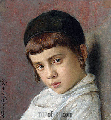 Portrait of a Young Boy with Peyot,  | Isidor Kaufmann | Gemälde Reproduktion