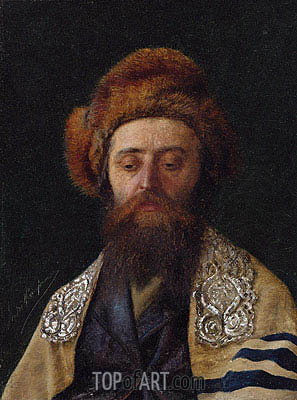 Portrait of a Rabbi with Tallit,  | Isidor Kaufmann | Painting Reproduction