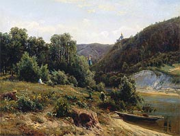 At the Monastery, 1870 von Ivan Shishkin | Gemälde-Reproduktion