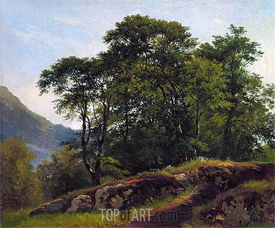 Beach Forest in Switzerland, 1863 | Ivan Shishkin| Painting Reproduction