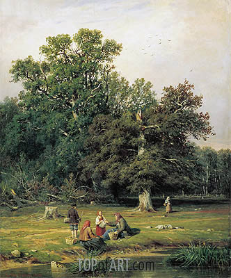 Mushroom Hunting (Gathering Mushrooms), 1870 | Ivan Shishkin| Painting Reproduction